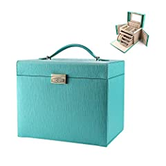 # Made from durable synthetic leather and a velvet lining, the will keep your jewelry organized and ready to wear.       # CONTAINS a built-in mirror, 13 earring hangers, 8 pairs of stud earring holders, 2 pouches in the side flaps, a ...