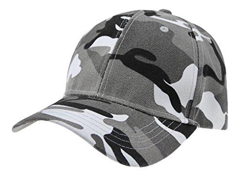 Unisex Fashion Camo Adjustable Snapback Trucker Baseball Cap Sports Hat for Women Men (Camo Cap Grey)