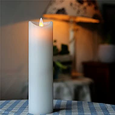 2.2  * 6.8  Decorative Battery Power Smokeless Dancing Flame Thin Pillar Candles with Moving Wick (white)