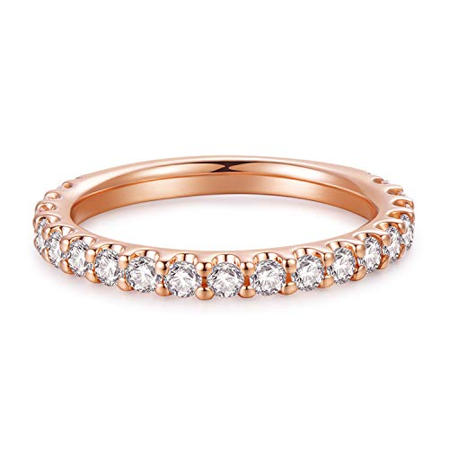 3mm 14K Rose Gold Plated Silver Simulated Diamond Cubic Zirconia CZ Half Eternity Wedding Band (8)