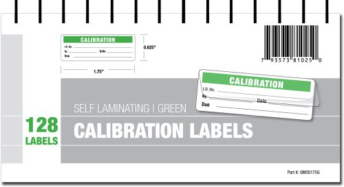 Calibration Labels - Self Laminating with Spiral Bound Cover - Laminating Marker