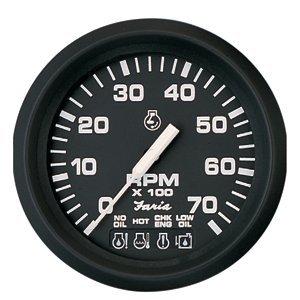 Faria 4'' Tachometer w/Systemcheck Indicator - 7,000 RPM (Gas - Johnson/Evinrude Outboard) - Euro Black