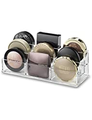 byAlegory Acrylic Tiered (Bronzer, Highlighter, Powder, Blush) Compact Makeup Organizer | 9 Space 3 Tier Cosmetic Storage (CLEAR)