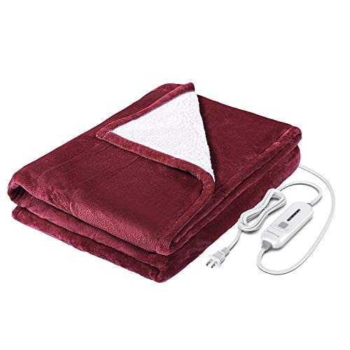 WAPANEUS Electric Heated Blanket with 3 Heating Levels and Auto Shut Off,Soft Plush Heated Sherpa...
