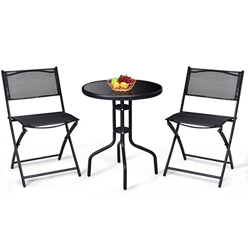 Giantex 3 Pcs Bistro Set Garden Backyard Round Table Folding Chairs, with Rust-Proof Steel Frames Reinforced Glass Design Outdoor Patio Furniture, Black