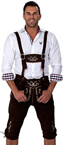 Almwerk Herren Trachten Lederhose Kniebund Modell Hipster, Farbe:Schwarz;Lederhose Größe Herren:54