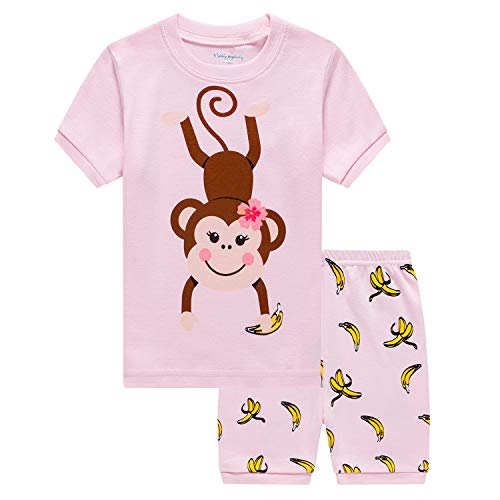 Kids & Toddler Boys Pajamas Set Short Sets Monkey Top and Banana Pant 100% Cotton 2 Piece Sleepwear Size 2-8T
