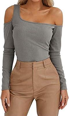 RBDSE Camisa Blusas y Blusas para Mujer Camisas de Manga Larga con un Hombro Túnica Gimnasio para Mujer Ropa de Moda Ropa de Calle Streetwear, S, Gris: Amazon.es: Deportes y aire libre