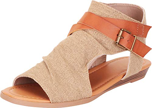 Cambridge Select Women's Strappy Buckle Cutout Wedge Sandal,8 B(M) US,Natural