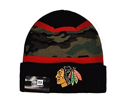outlet store d27fe 00ebb Image Unavailable. Image not available for. Color  New Era NHL Knit Fillz Chicago  Blackhawks ONE Size Beanie Woodcamo Black Hat