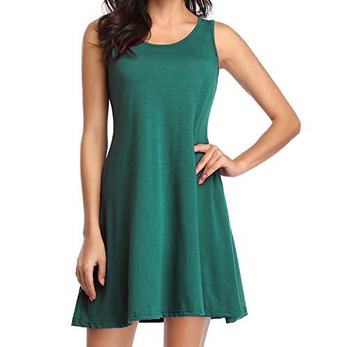 (Loritta Womens Tank Dress Summer Casual Swing Loose Sleeveless T-Shirt Dresses, Dark Green, L)