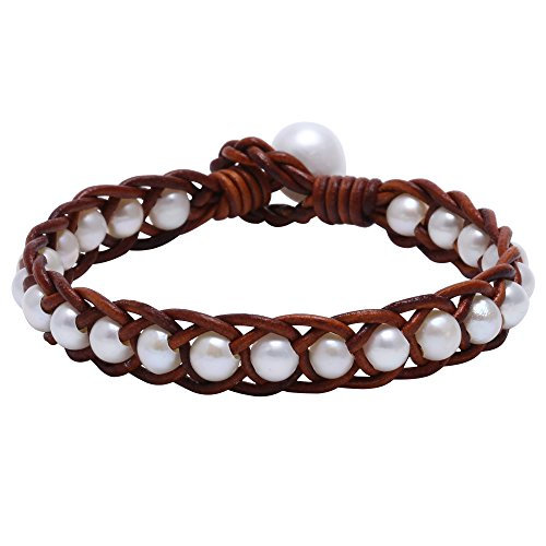 5 Strand Pearl Bracelet - Aobei Handbraided Tan Leather Bracelet with White Cultured Freshwater Pearl One Strand Wrap Jewelry for Teen Girls 8''