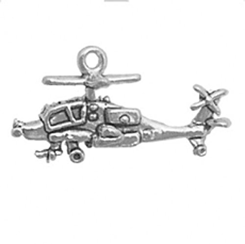 - Sterling Silver 3D Apache Helicopter Gunship Charm