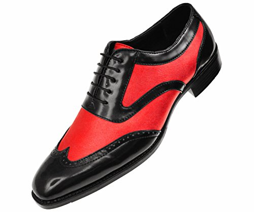 Bolano Two Men's Lace Smooth Metallic Oxford Red Style Dress up Black Wingtip Tone Lawson Spectator Shoe qrrYdwx5
