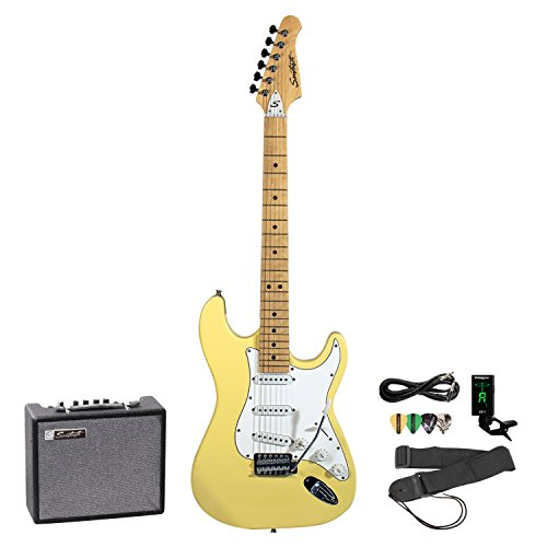 Sawtooth ES Series Left-Handed Electric Guitar with Amp and Accessories, Vanilla Cream with White Pickguard