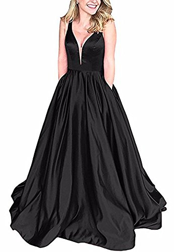 Andybridal Ball Gown Black Deep V Neck Satin with Pockets Plus Size Prom Dress ()