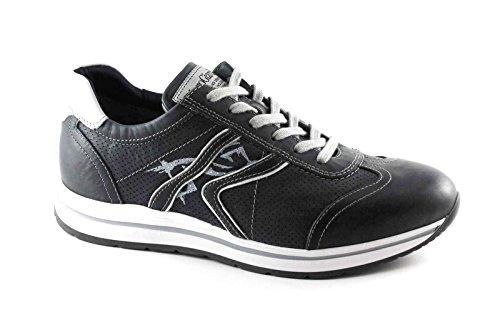 NEGRO JARDINES cordones de cuero azul 4910 el hombre se divierte la zapatilla de deporte zapatos Blu