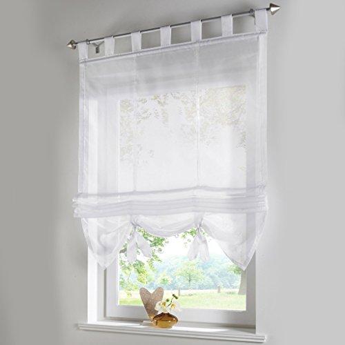 Raffrollo Schlaufen Gardinen Vorhänge 1er-Pack Vorhang H*B 155*140cm Weiß