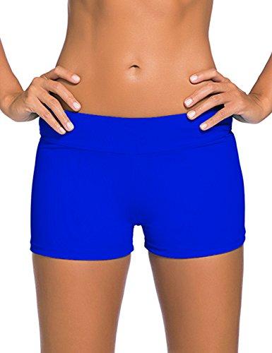 VintageRose Womens Acid Blue Wide Waistband Swimsuit Bottom Shorts (Female Inflation Suit)