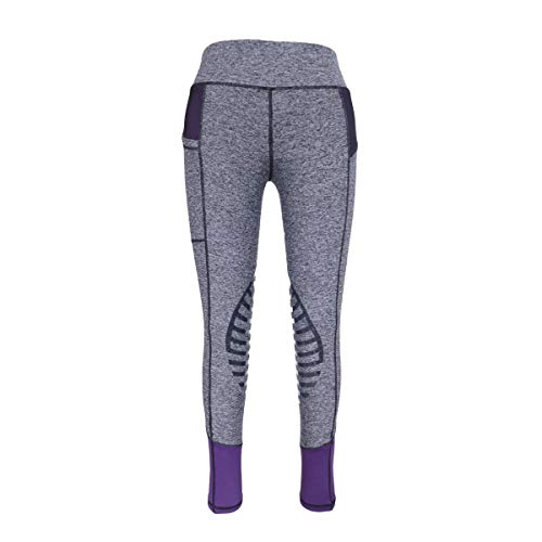 HR Farm Women's Silicone Tights Horse Riding Gel Grip Pull On Leggings with Pocket (Grey/Purple, S) (Side Farm)