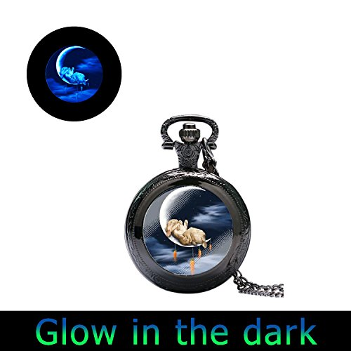 Glowlala@glow in the Dark Bunny Watch Necklace I Love You to the Moon and Back Rabbit Glowing Watch Jewelry Gifts for Her Moms Mothers Girls Women (black) ()