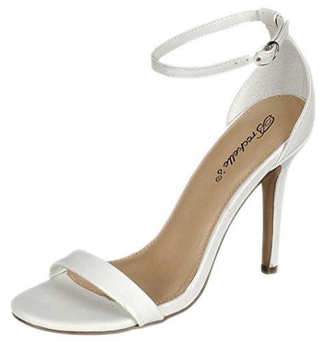 Breckelles Kvinna Sydney-45 Stilett Öppen Tå Klänning Ankelbandet Stilett Häl Sandal Vit Pu