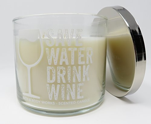 Bath & Body Works Candle 3 Wick 14.5 Ounce Save Water Drink Wine Scent Black Cherry (Merlot Wine Scented Candles)