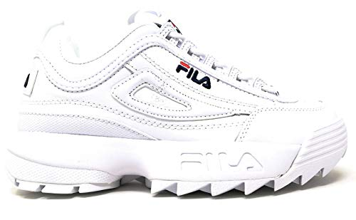 Fila Womens Disruptor II Premium Sneaker, Adult, White/Navy/Red, 8 M - Peacoat Womens Red