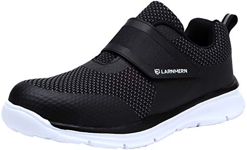 (LARNMERN Steel Toe Shoes Women, Womens Work Safety Shoes Lightweight Breathable Puncture Proof Reflective Strip Magic Tapes Sneakers LM121 (5.5 US, White))