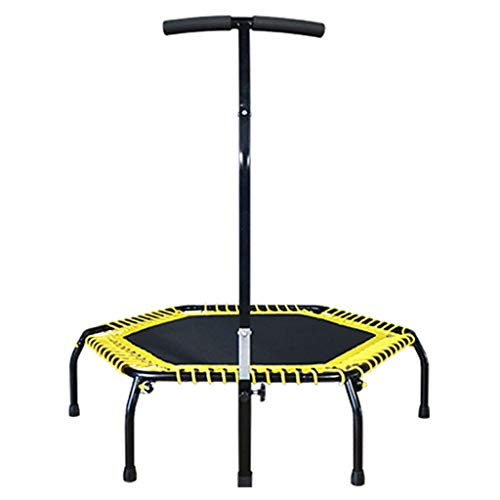 YX-YYQX with Armrest Octagonal Trampoline for Adult Weight Loss Bouncing Bed Home Children Jumping Yellow for Folding Mini Trampoline Indoor Fitness