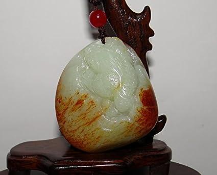 JL Colgantes tallados a Mano de Jade nefitano Natural de 2.2 Pulgadas con Certificado de China