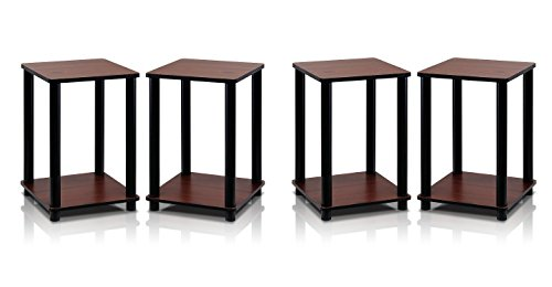Furinno 2-99800RDC Turn-N-Tube End Table Corner Shelves, Set of 2, Dark Cherry/Black (2 Sets) by Furinno