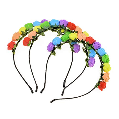 Love Sweety Boho Floral Crown Rose Flower Headband Hair Wreath (Rainbow 3pc) by Love Sweety (Image #1)