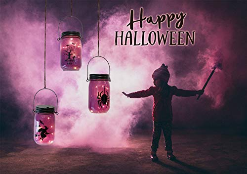 Painted Halloween Pumpkins Patterns (MJ PREMIER Halloween Decorations - Purple Painted Mason Jar Lights Spider Spooky Tree Witch Pattern, Battery Operated LED Fairy Firefly Lights with Timer, Hanging Lanterns for Home Party Decor 3)