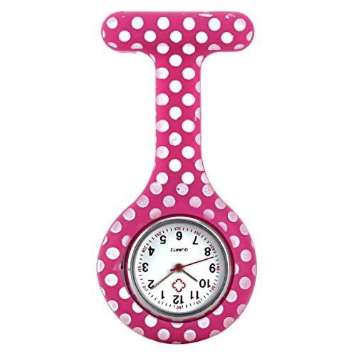 Bracelet Printed Pattern (GreenDimension Premium Soft Silicone Matte Hybrid Bumper Nurses Lapel Clock Floral Printed Pattern Quartz Watch Bracelet (Infection Control)1 Pcs Colorful Replacement Brooch Case Cover)