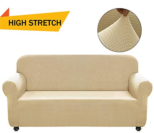 - Chelzen Stretch Sofa Covers 1-Piece Polyester Spandex Fabric Living Room Couch Slipcovers (Loveseat, Beige)