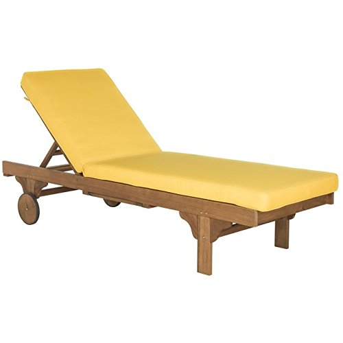 Safavieh Outdoor Collection Newport Teak Brown & Yellow Chaise Lounge Chair with Side Table