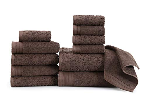 Wicker Park 600 GSM Ultra Soft Luxurious 12-Piece Towel Set (Coffee): 2 Bath Towels, 4 Hand Towels, 6 Washcloths, Long-Staple Combed Cotton, Spa Hotel Quality, Super Absorbent, Machine Washable
