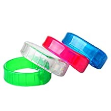 4 PCS LED Flashing Glowing Bracelet Wristband Bangle Sound Control for Disco Night Pub Bar Party Music Concert Green White Pink Blue