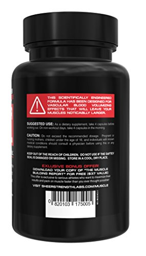 SHEER-NO-Nitric-Oxide-Booster-Premium-Nitric-Oxide-Supplement-for-Building-Muscle-and-Strength-while-Boosting-Blood-Flow-Stamina-and-Endurance-120-Nitric-Oxide-Pills-30-Day-Supply
