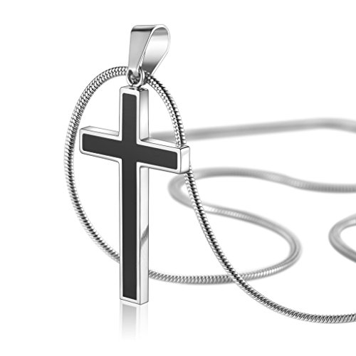 COAI Stainless Steel Black Cross Pendant Necklace for Men Women Snake Chain 22 inch