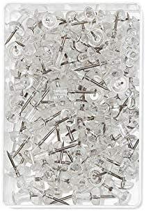 Wedo 54249 Pinnadeln Diabolo-Form, Länge 2,3 cm, Kopfdurchmesser 9 mm, Nadellänge 1,1 cm, 100 Stück in Klarsichtdose, glasklar