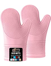 Gorilla Grip Premium Silicone Slip Resistant Oven Mitt Set, Soft Flexible Oven Gloves, Heat Resistant Kitchen Cooking Mitts, Protect Hands from Hot Surfaces, Cookie Sheets, Pink Pair, Set of 2