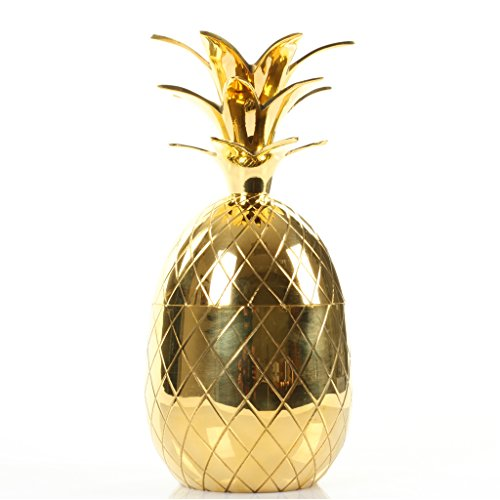 Koyal Wholesale 10'' Vintage Brass Pineapple, Ice Bucket Tumbler by Koyal Wholesale