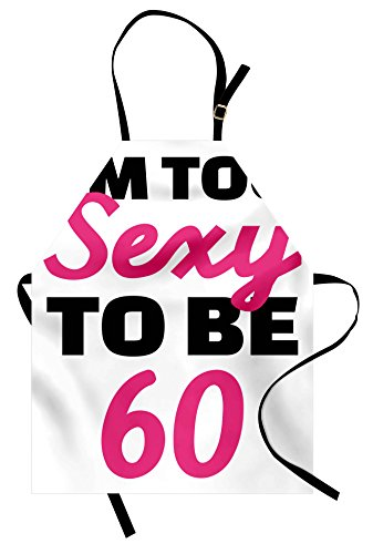 Ambesonne 60th Birthday Apron, Hot Party Theme I am Too Sexy to Be 60 Years Old Hand Written Words, Unisex Kitchen Bib Apron with Adjustable Neck for Cooking Baking Gardening, Pink Black]()