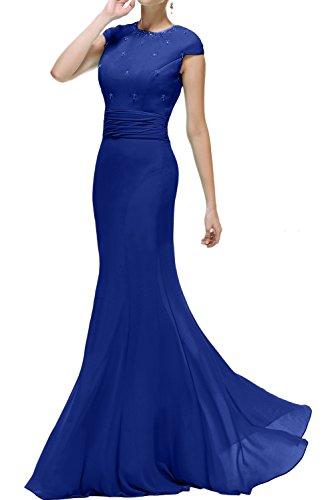 Meerjungfrau Damen Rundkragen Lang Promkleid Ballkleider Ivydressing Royalblau Brautmutterkleid Abendkleider UOqxRq5w