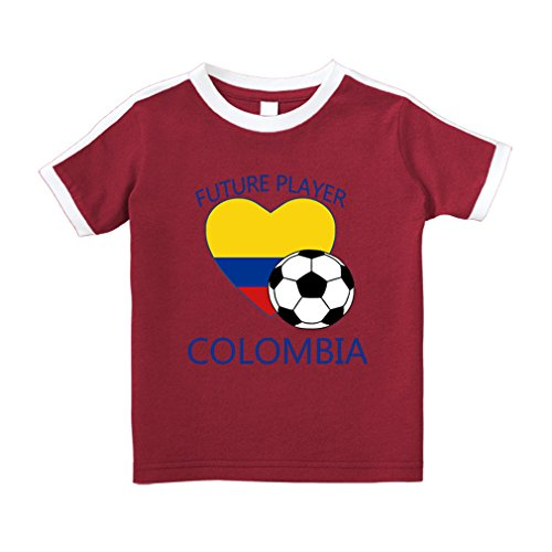 Unisex Short Sleeve Crew Shirt - Cute Rascals Future Soccer Player Colombia #1 Cotton Short Sleeve Crewneck Unisex Toddler T-Shirt Soccer Tee - Red, 2T