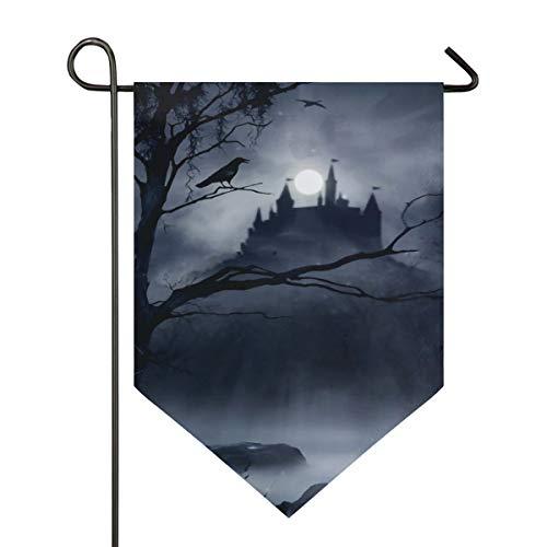 Gothic Decor Horrible Dark Night Scary Castle Crow Raven Bird Halloween Theme Yard Flag Double Sided Weatherproof Garden Flag Outdoor Decor Home Flag Demonstration Flag -