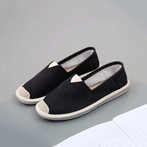Damen atmungsaktive Segeltuchschuhe im Freienfreizeit weiße Brettschuhart und weise flache Schuhe ( Farbe : Weiß , größe : 39 ) Schwarz