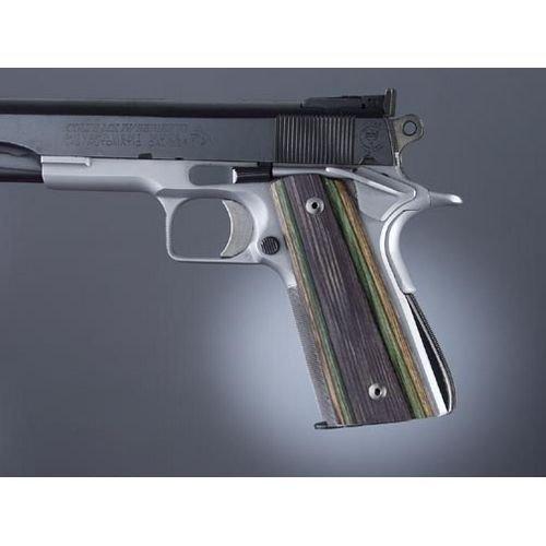 Hogue Govt  Model Lamo Camo S A Techwell Mag Well Ambi  Cut Checkered Gun Grips